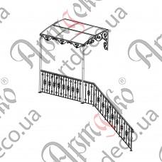 Кованый навес с ограждением 3540х2500х1400 - изображение