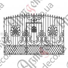 Кованые ворота с калиткой 3800х2500 - изображение