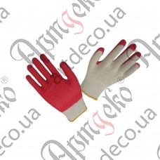 Перчатки с латексным покрытием (бело-красные) - изображение