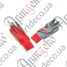 Перчатки с нитриловым покрытием (красно-серые) - изображение