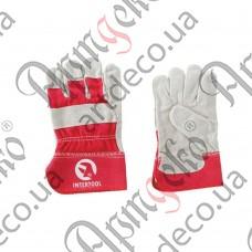Перчатки замшевые комбинированные - изображение