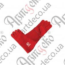 Перчатки замшевые краги (красные) - изображение