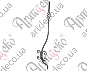Кованая стойка гнутая (балясина) 950х160х130х12 вальц. - изображение