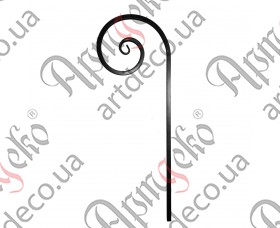 Кованый завиток из трубы 1000х360х20 - изображение